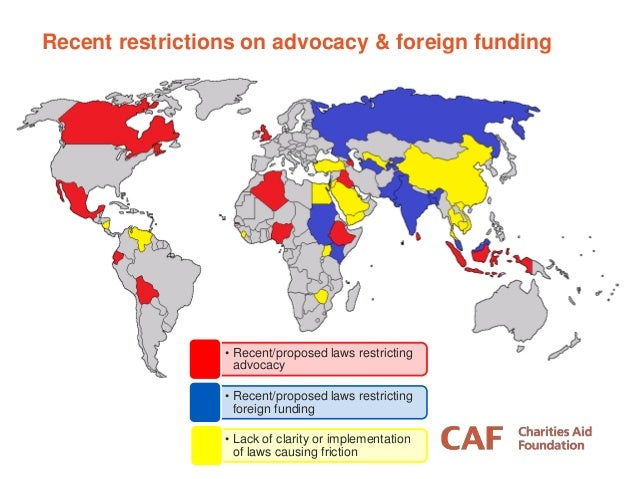 Recent restrictions on advocacy & foreign funding • Recent/proposed laws restricting advocacy • Recent/proposed laws restr...