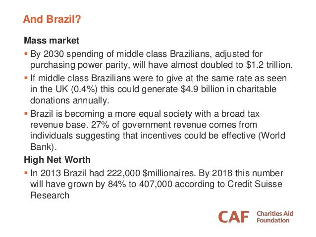 And Brazil? Mass market  By 2030 spending of middle class Brazilians, adjusted for purchasing power parity, will have alm...