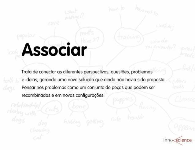 Associar  Trata de conectar as diferentes perspectivas,  questões,  problemas  e ideias,  gerando uma nova solução que ain...