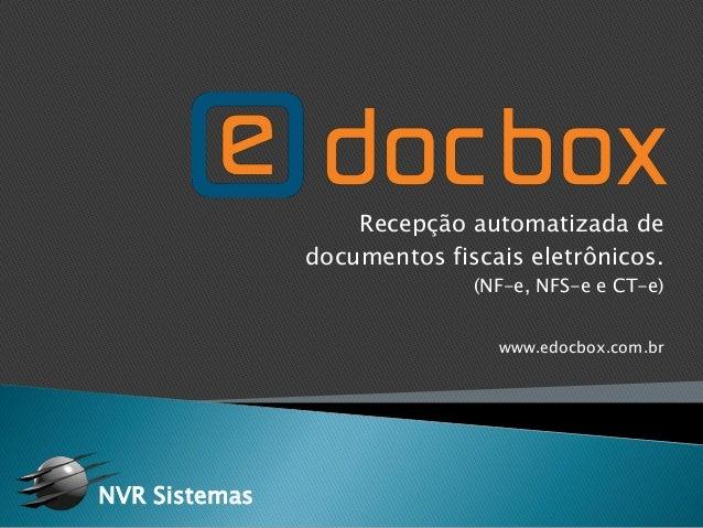 Recepção automatizada de documentos fiscais eletrônicos. (NF-e, NFS-e e CT-e) www.edocbox.com.br NVR Sistemas