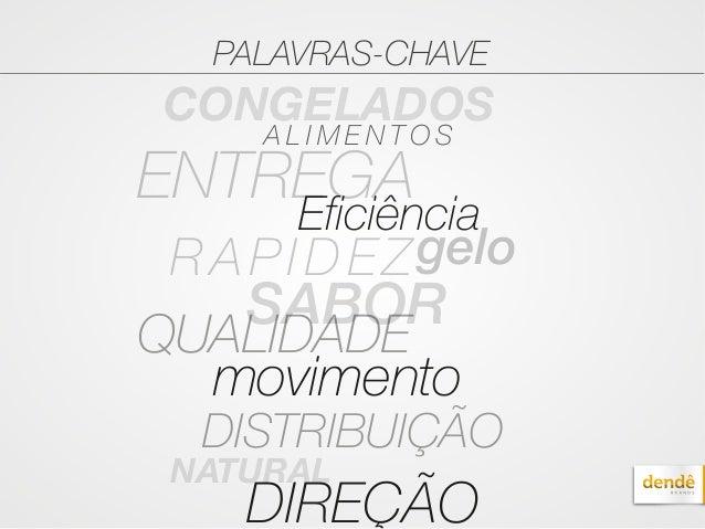 PALAVRAS-CHAVE CONGELADOS DIREÇÃO Eficiência ENTREGA RAPIDEZgelo SABOR QUALIDADE movimento DISTRIBUIÇÃO A L I M E N T O S ...