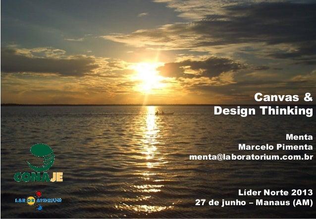 Líder Norte 2013 27 de junho – Manaus (AM) Canvas & Design Thinking Menta Marcelo Pimenta menta@laboratorium.com.br