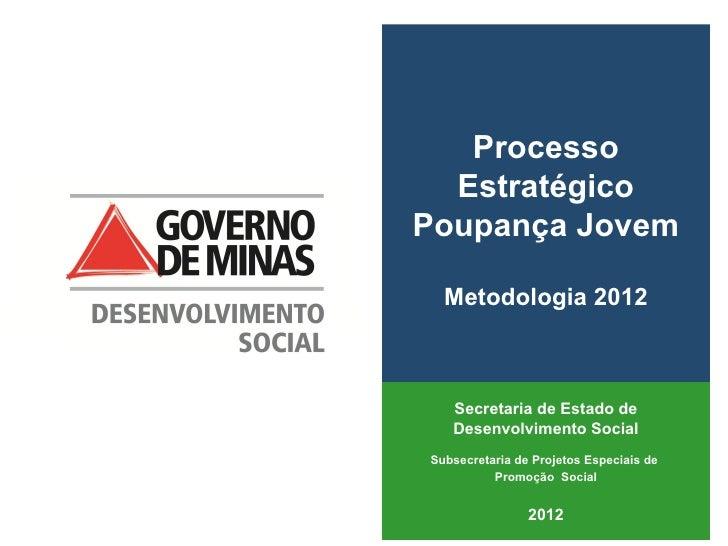 Processo  EstratégicoPoupança Jovem  Metodologia 2012   Secretaria de Estado de   Desenvolvimento SocialSubsecretaria de P...