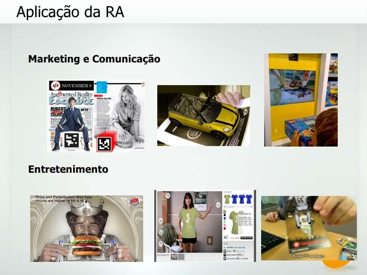 Aplicação da RA Marketing e Comunicação Entretenimento