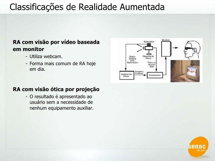 <ul><li>RA com visão por vídeo baseada em monitor   </li></ul><ul><ul><li>Utiliza webcam. </li></ul></ul><ul><ul><li>Forma...
