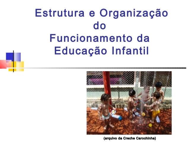 Estrutura e Organização do Funcionamento da Educação Infantil (arquivo da Creche Carochinha)