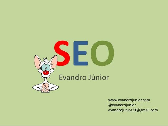 SEOEvandro Júnior www.evandrojunior.com @evandrojunior evandrojunior21@gmail.com