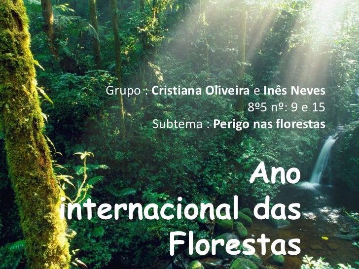 Grupo : Cristiana Oliveira e Inês Neves 8º5 nº: 9 e 15Subtema : Perigo nas florestas<br />Ano internacional das Florestas<...