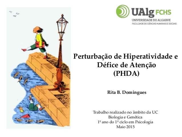 Perturbação de Hiperatividade e Défice de Atenção (PHDA) Rita B. Domingues Trabalho realizado no âmbito da UC Biologia e G...