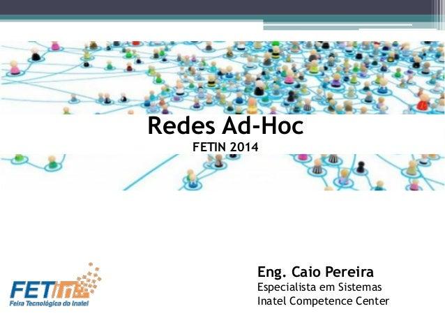 Eng. Caio Pereira Especialista em Sistemas Inatel Competence Center Redes Ad-Hoc FETIN 2014