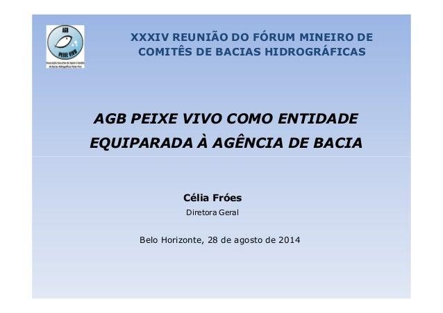 XXXIV REUNIÃO DO FÓRUM MINEIRO DE  COMITÊS DE BACIAS HIDROGRÁFICAS  AGB PEIXE VIVO COMO ENTIDADE  EQUIPARADA À AGÊNCIA DE ...