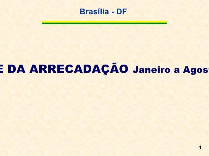 <ul>ANÁLISE DA ARRECADAÇÃO  Janeiro a Agosto de 2011 </ul>