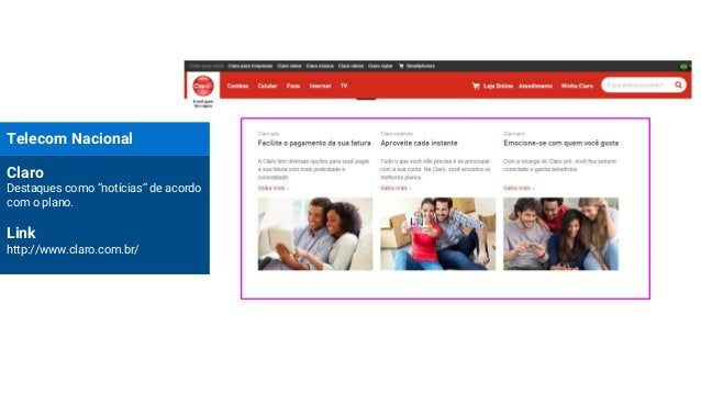 """Telecom Nacional Claro Destaques como """"notícias"""" de acordo com o plano. Link http://www.claro.com.br/"""