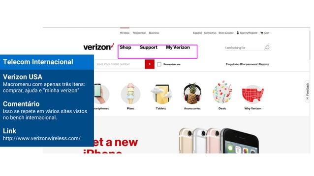 """Telecom Internacional Verizon USA Macromenu com apenas três itens: comprar, ajuda e """"minha verizon"""" Comentário Isso se rep..."""