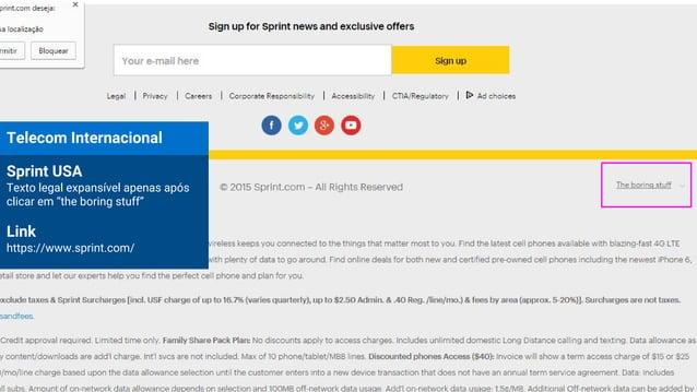 """Telecom Internacional Sprint USA Texto legal expansível apenas após clicar em """"the boring stuff"""" Link https://www.sprint.c..."""
