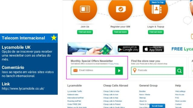 Telecom Internacional Lycamobile UK Opção de se inscrever para receber uma newsletter com as ofertas do mês. Comentário Is...