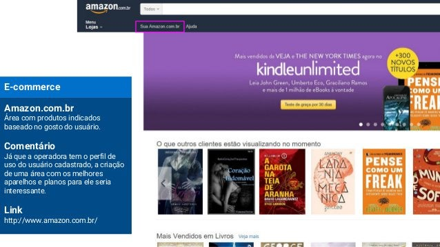 E-commerce Amazon.com.br Área com produtos indicados baseado no gosto do usuário. Comentário Já que a operadora tem o perf...