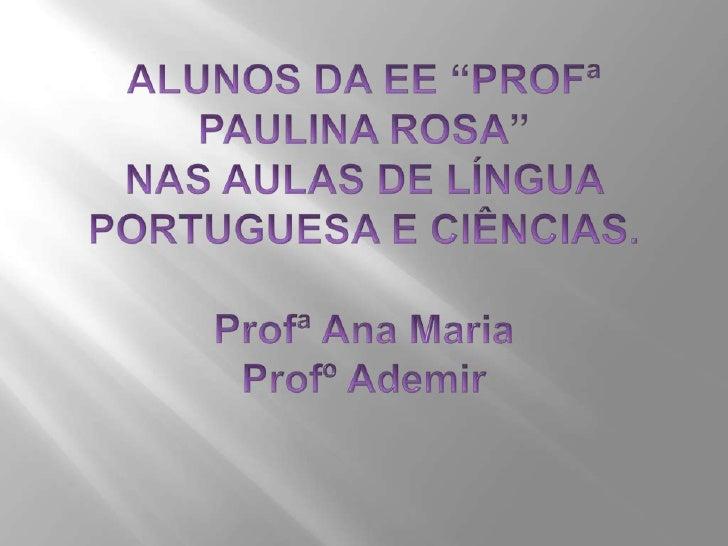"""ALUNOS DA EE """"PROFª PAULINA ROSA""""NAS AULAS DE LÍNGUA PORTUGUESA E CIÊNCIAS.Profª Ana MariaProfº Ademir<br />"""