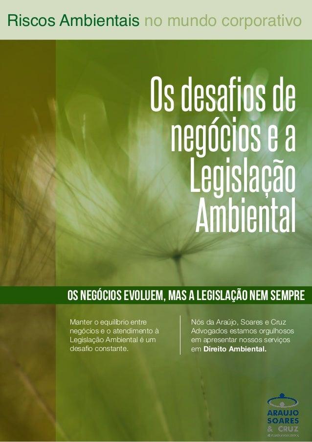 Osdesafiosde negóciosea Legislação Ambiental Riscos Ambientais no mundo corporativo os negócios evoluem, mas a legislação ...