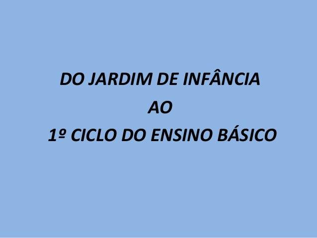 DO JARDIM DE INFÂNCIAAO1º CICLO DO ENSINO BÁSICO