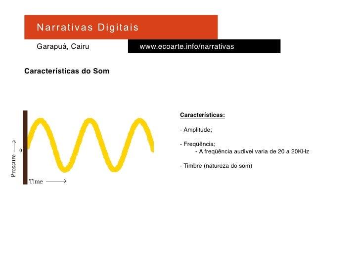Na r r at i v a s D i gi ta is    Garapuá, Cairu                   www.ecoarte.info/narrativas   Características do Som   ...