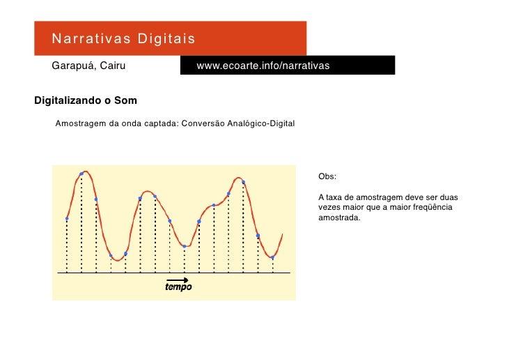 Na r r at i v a s D i gi ta is     Garapuá, Cairu                   www.ecoarte.info/narrativas   Digitalizando o Som     ...