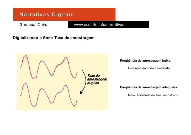 Na r r at i v a s D i gi ta is    Garapuá, Cairu                   www.ecoarte.info/narrativas   Digitalizando o Som: Taxa...