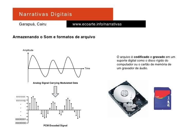 Na r r at i v a s D i gi ta is    Garapuá, Cairu                   www.ecoarte.info/narrativas   Armazenando o Som e forma...