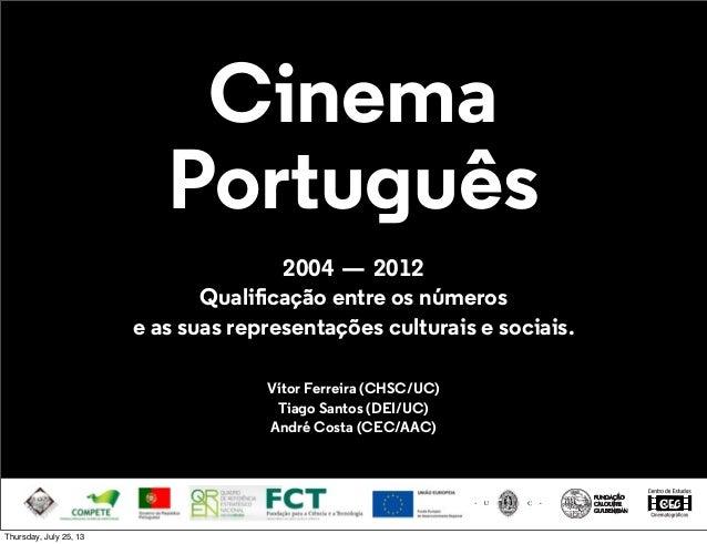 Cinema Português 2004—2012 Qualificação entre os números e as suas representações culturais e sociais. Vítor Ferreira (CH...