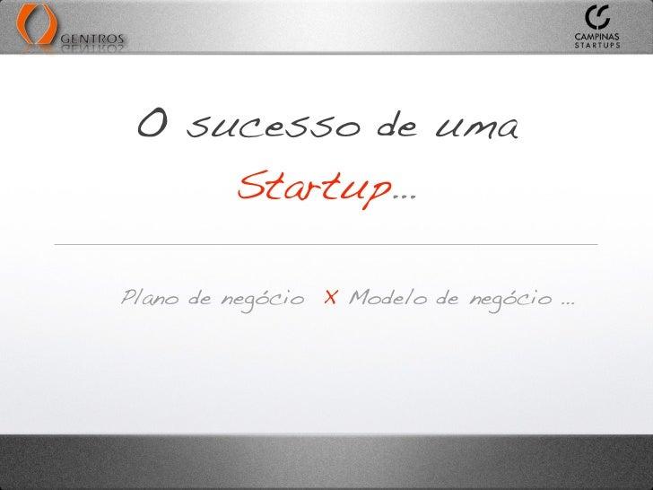 O sucesso de uma     Startup…Plano de negócio X Modelo de negócio …