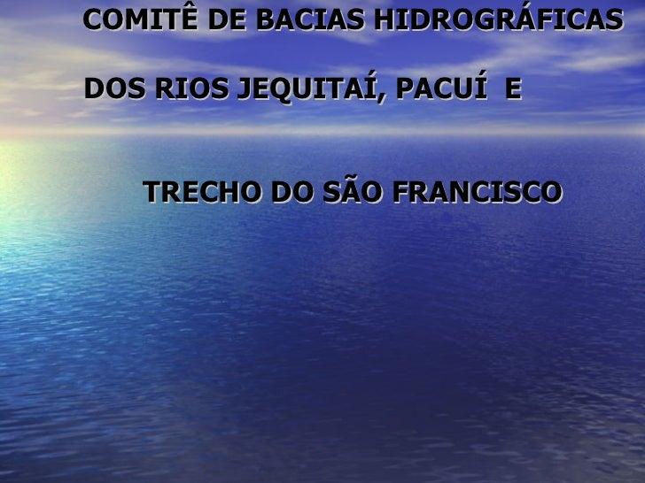 COMITÊ DE BACIAS HIDROGRÁFICAS  DOS RIOS JEQUITAÍ, PACUÍ  E  TRECHO DO SÃO FRANCISCO