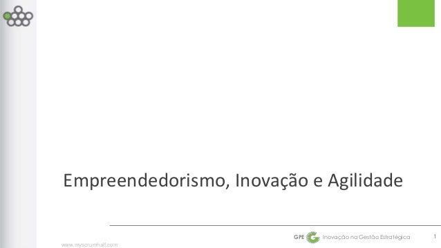 Empreendedorismo, Inovação e Agilidade  www.myscrumhalf.com  GPE Inovação na Gestão Estratégica  1