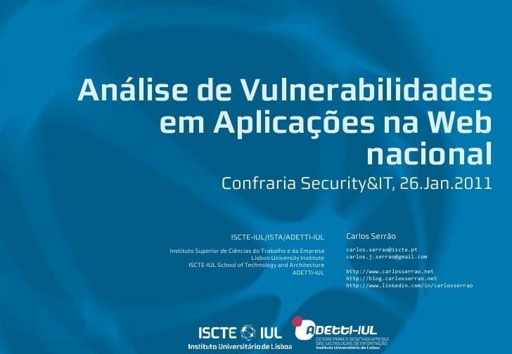 Análise de Vulnerabilidades em Aplicações na Web Nacional