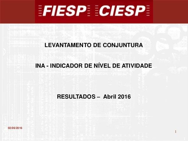 1 1 02/06/2016 LEVANTAMENTO DE CONJUNTURA INA - INDICADOR DE NÍVEL DE ATIVIDADE RESULTADOS – Abril 2016
