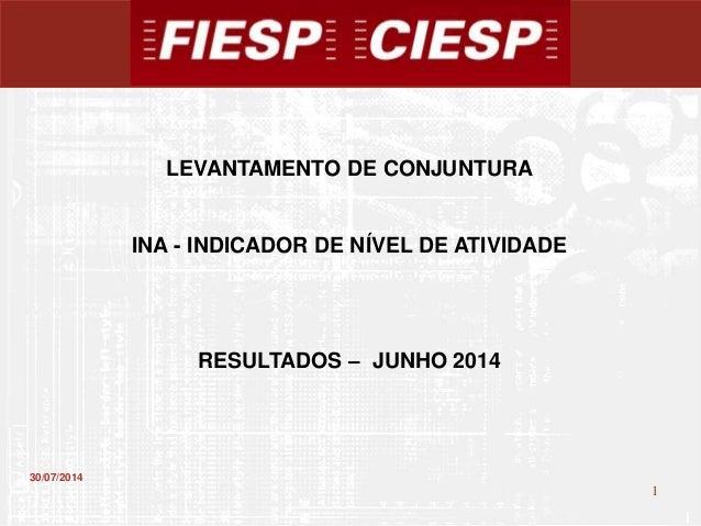 1 1 30/07/2014 LEVANTAMENTO DE CONJUNTURA INA - INDICADOR DE NÍVEL DE ATIVIDADE RESULTADOS – JUNHO 2014