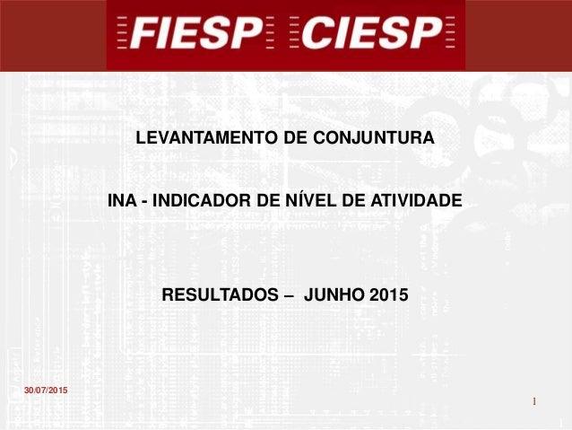1 1 30/07/2015 LEVANTAMENTO DE CONJUNTURA INA - INDICADOR DE NÍVEL DE ATIVIDADE RESULTADOS – JUNHO 2015