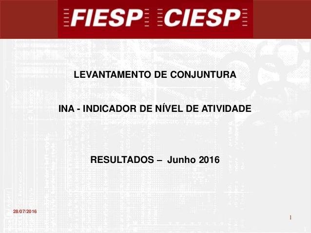 1 1 28/07/2016 LEVANTAMENTO DE CONJUNTURA INA - INDICADOR DE NÍVEL DE ATIVIDADE RESULTADOS – Junho 2016