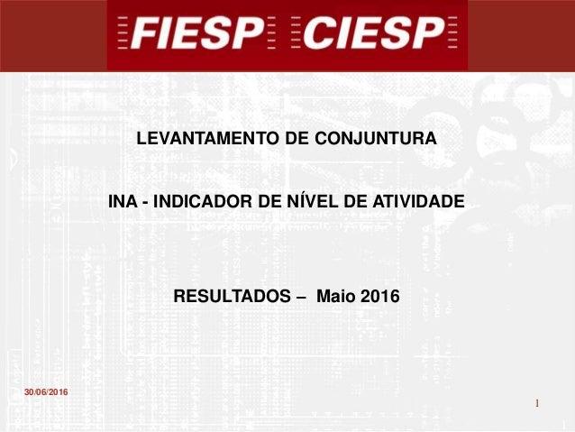 1 1 30/06/2016 LEVANTAMENTO DE CONJUNTURA INA - INDICADOR DE NÍVEL DE ATIVIDADE RESULTADOS – Maio 2016