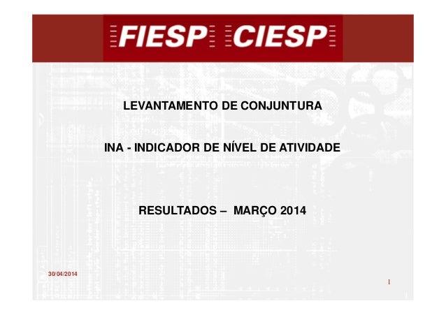 1 1 30/04/2014 LEVANTAMENTO DE CONJUNTURA INA - INDICADOR DE NÍVEL DE ATIVIDADE RESULTADOS – MARÇO 2014