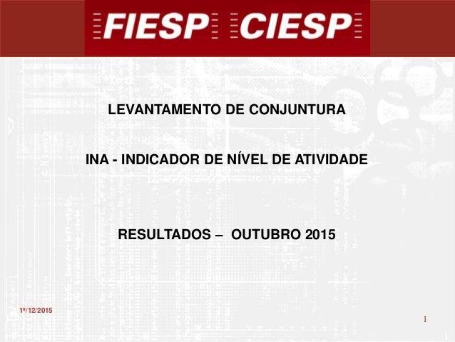 1 1 1º/12/2015 LEVANTAMENTO DE CONJUNTURA INA - INDICADOR DE NÍVEL DE ATIVIDADE RESULTADOS – OUTUBRO 2015