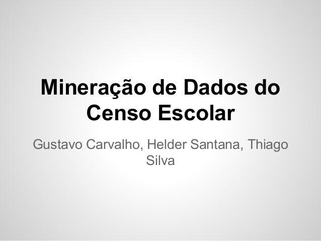 Mineração de Dados do Censo Escolar Gustavo Carvalho, Helder Santana, Thiago Silva