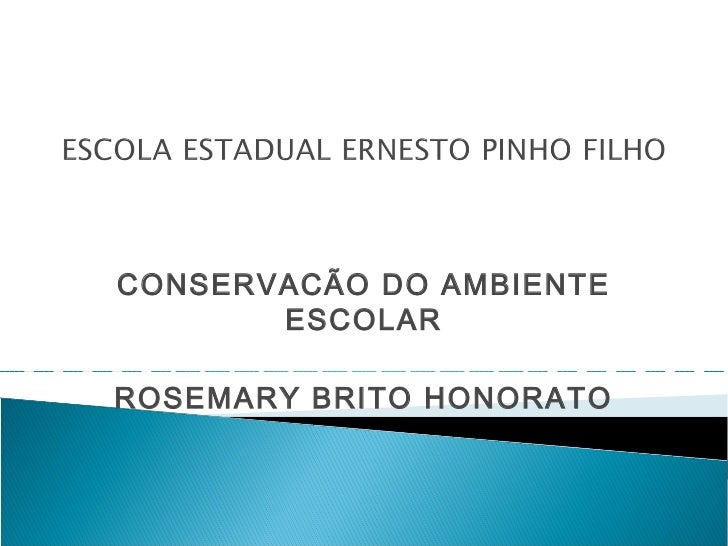 CONSERVACÃO DO AMBIENTE       ESCOLARROSEMARY BRITO HONORATO