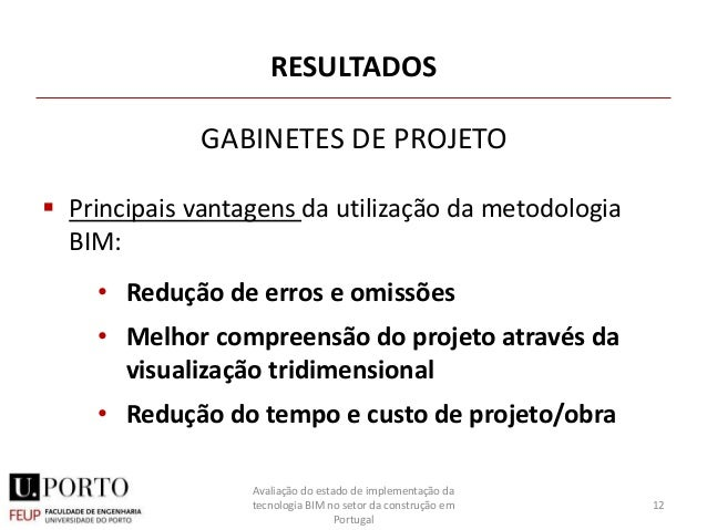RESULTADOS  Principais vantagens da utilização da metodologia BIM: • Redução de erros e omissões • Melhor compreensão do ...
