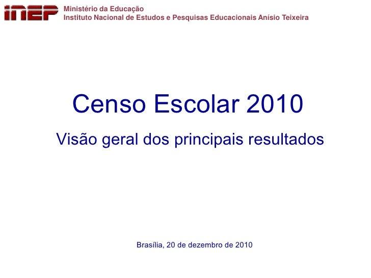 Ministério da Educação Instituto Nacional de Estudos e Pesquisas Educacionais Anísio Teixeira   Censo Escolar 2010Visão ge...