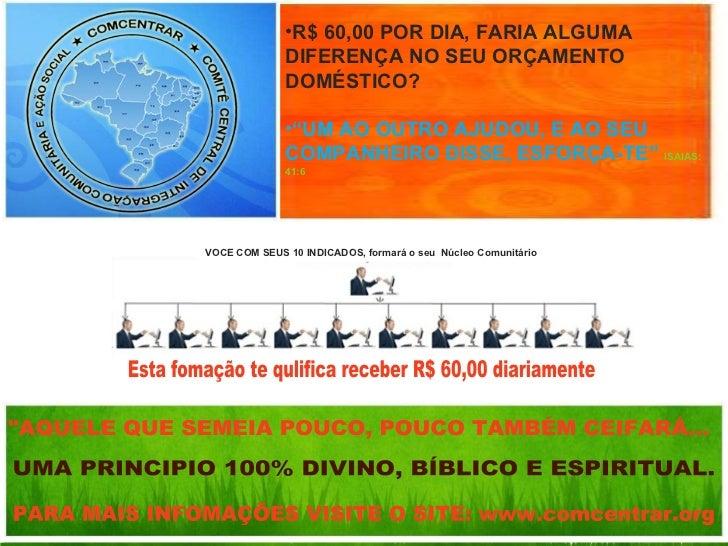 Apresentação do Programa de Incentivo Crédito Social COMCENTRAR <ul><li>R$ 60,00 POR DIA, FARIA ALGUMA DIFERENÇA NO SEU OR...