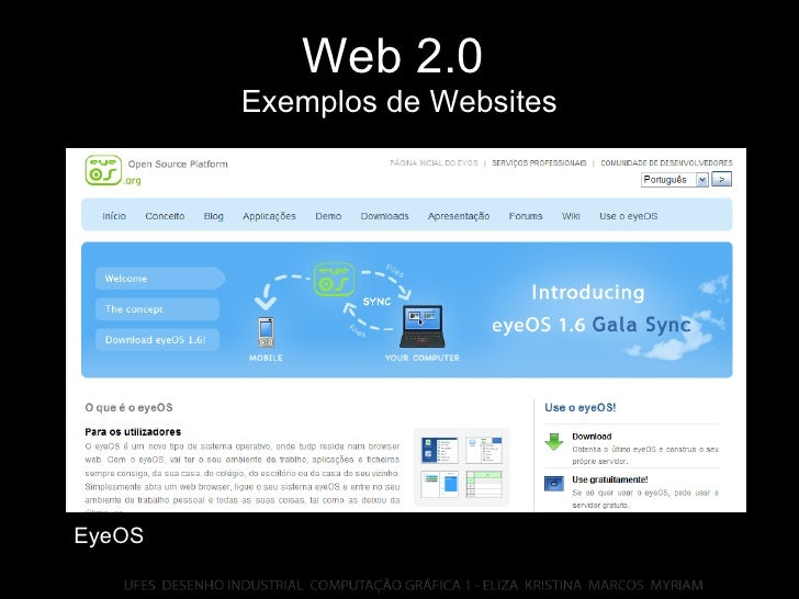 Web 2.0   Exemplos de Websites EyeOS