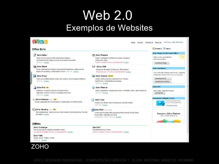 Web 2.0   Exemplos de Websites ZOHO