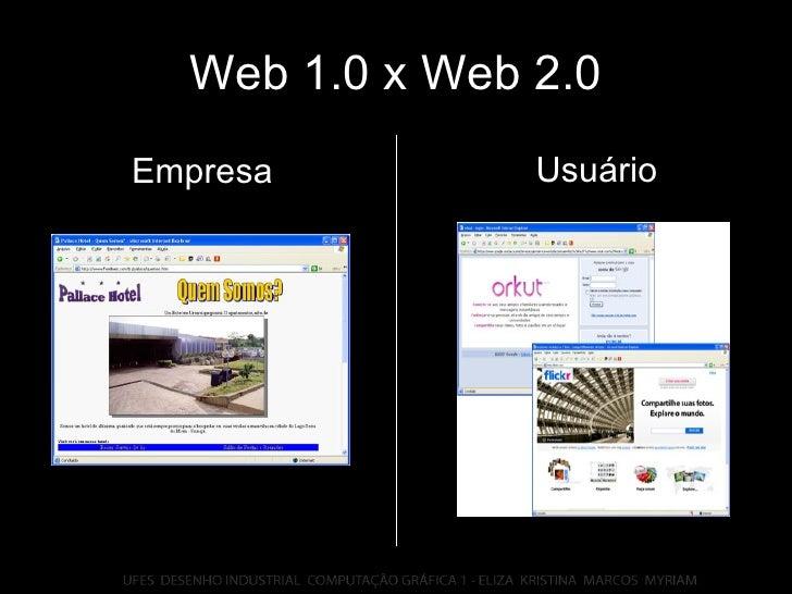 Web 1.0 x Web 2.0 Usuário Empresa