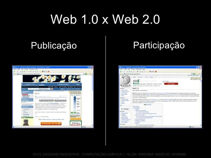 Web 1.0 x Web 2.0 Participação Publicação