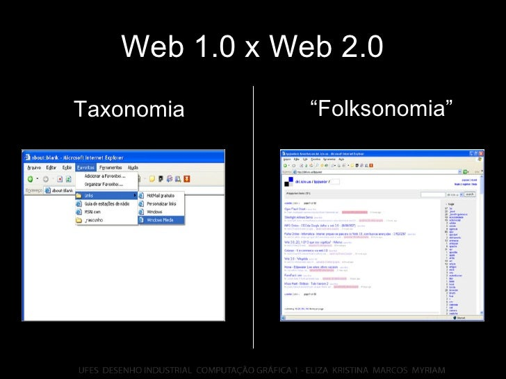 "Web 1.0 x Web 2.0 "" Folksonomia"" Taxonomia"